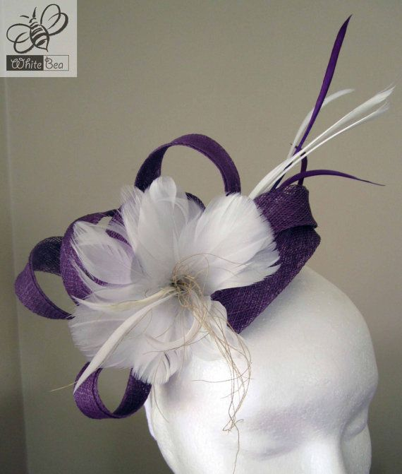 Fascinator with purple sinamay and white feather by WhiteBea,