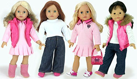 Pretty in Pink 18 In Doll Set (6 Pc.) Polo Dress, Bag, Long Sleeve Shirt, Jeans, Puffy Vest and Boots for your Favorite American Doll and More!