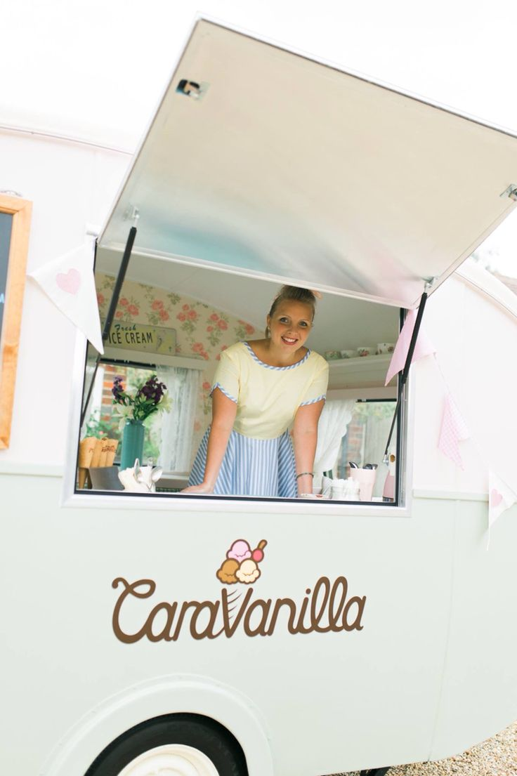 Caravanilla - with Olive the vintage ice cream caravan, scooping up delightful British ice cream along the south coast, with options from salted caramel, to strawberries & champagne  , to cider sorbet! Yum! Available for hire for any event, big or small.