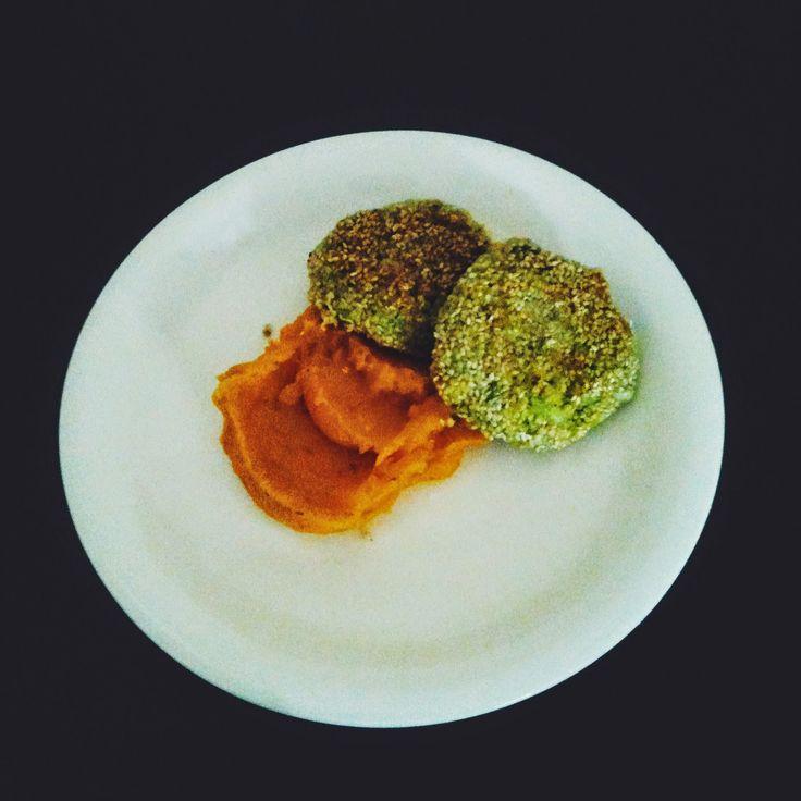 puree z dyni i kotlety z brokułów i kaszy jaglanej #vegan