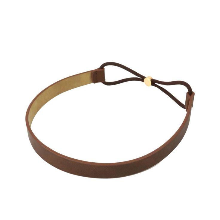vegan leather skinny headband in brown