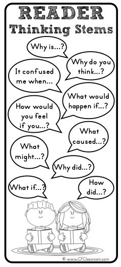Free Printables Thinking Stems | ... include the titles book club thinking stems and reader thinking stems