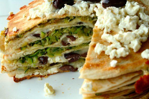 Zucchini, Feta, and Kalamata Olive Quesadilla Stack | 27 Most Epic Food Stacks Of 2013