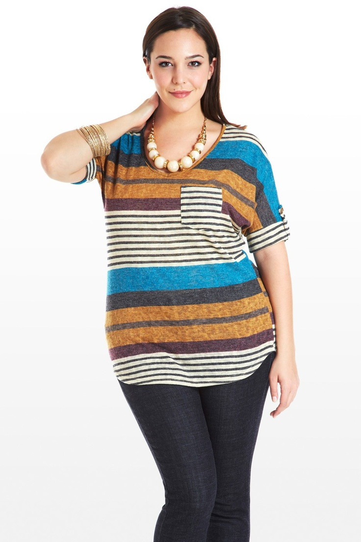 Casual-wear at its finest, this adorable knit tee has a stripe-meets-colorblocked design and a totally flattering cut. V-neck plays off the slightly curved hem; short sleeves feature button roll-up tabs; breast pocket adds a dash more visual interest. Keep jewelry neutral and subtle so it doesn't overwhelm.