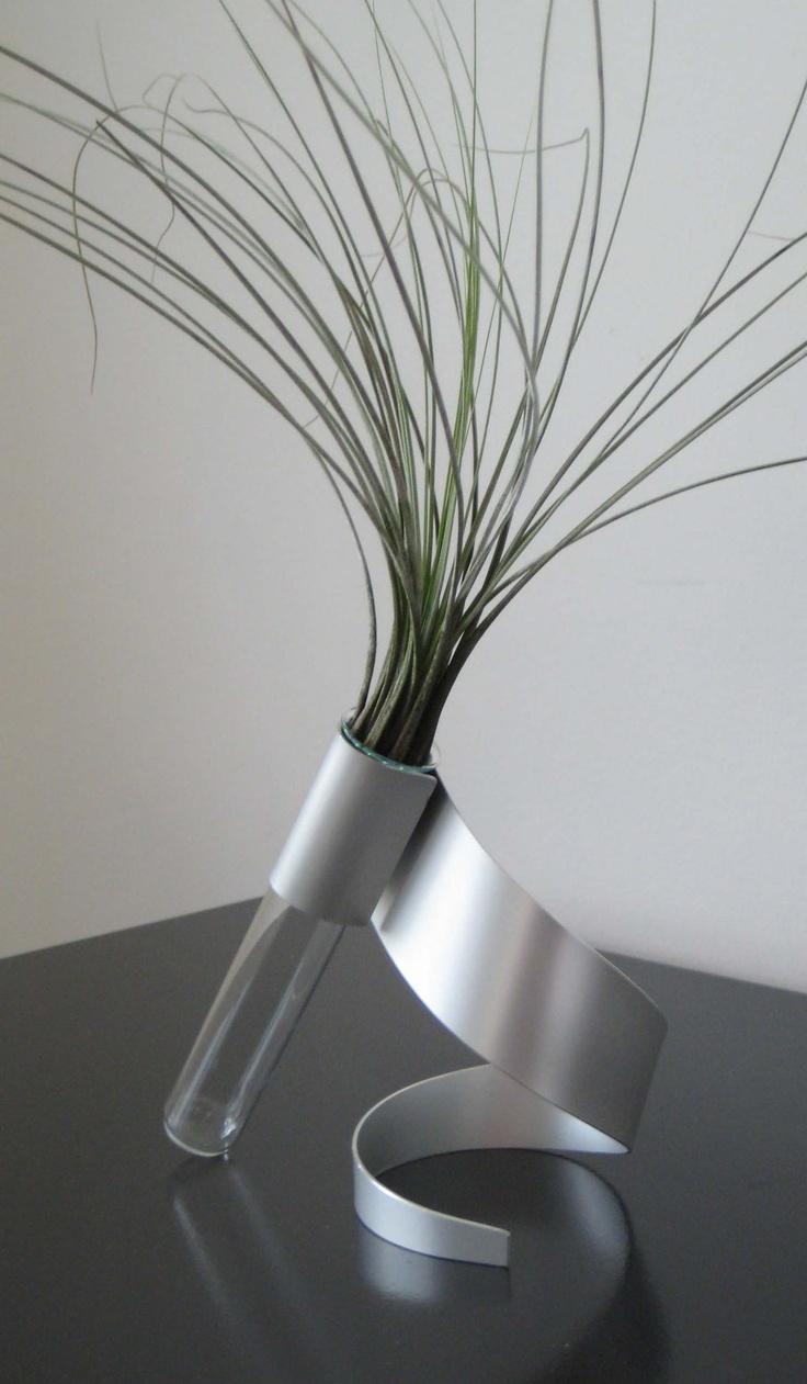 Swirl Metal Sculpture Vase.