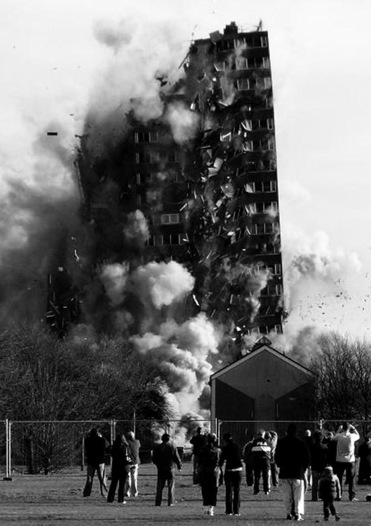 Spectators at the demolition of the Toryglen tower block, Glasgow, 2007.