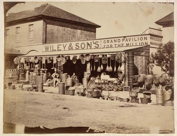 Wiley & Son's Basket Wholesale Warehouse on Park St,Sydney in  1858.