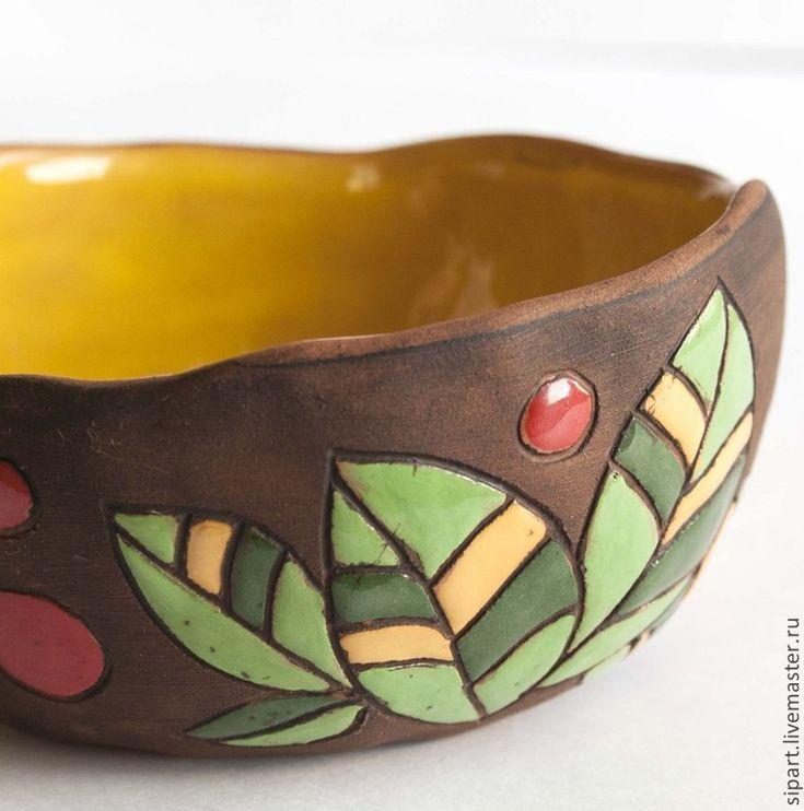 """Купить Пиала """"Листики"""" - пиала, Медовый, листики, керамическая посуда, пиала из глины, авторская керамика"""