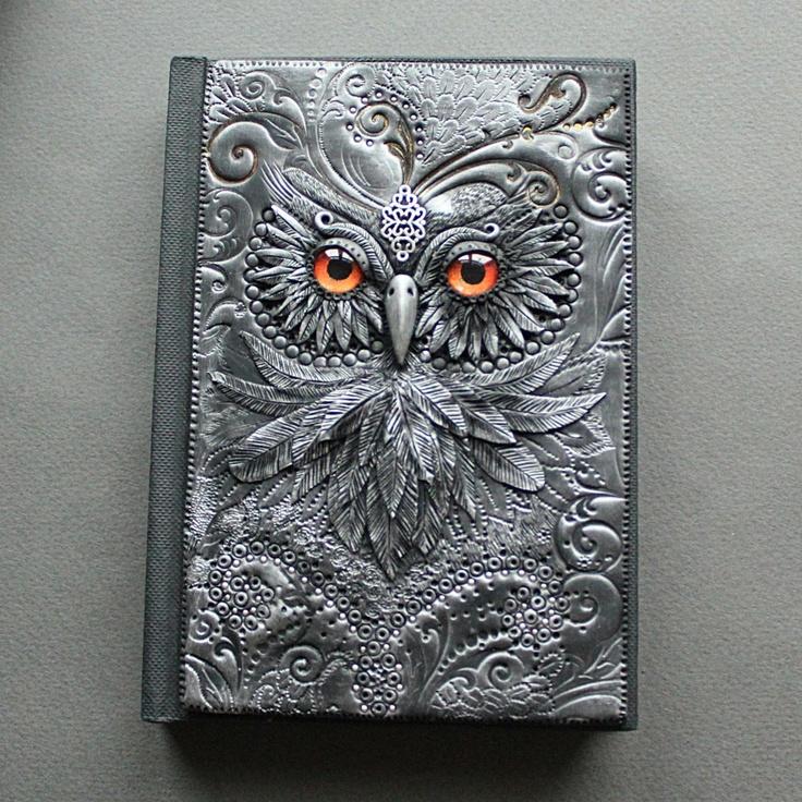 """""""Owl with golden eyes"""" Polymer clay journal by Mandarin Duck.  www.mandarin-duck.com"""