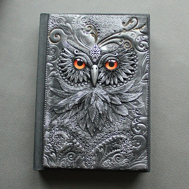"""Owl with golden eyes"" Polymer clay journal by Mandarin Duck.  www.mandarin-duck.com"
