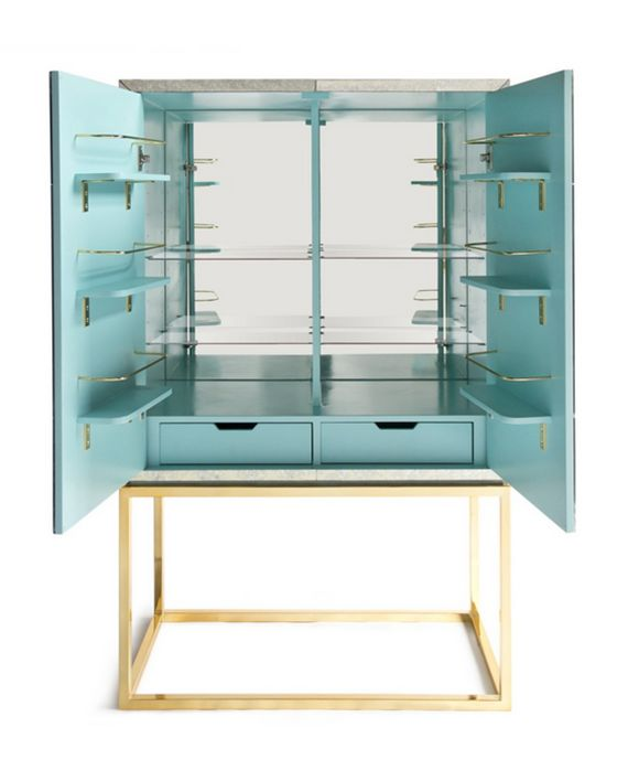 Jonathan Adler Bar Cabinet with turquoise interior