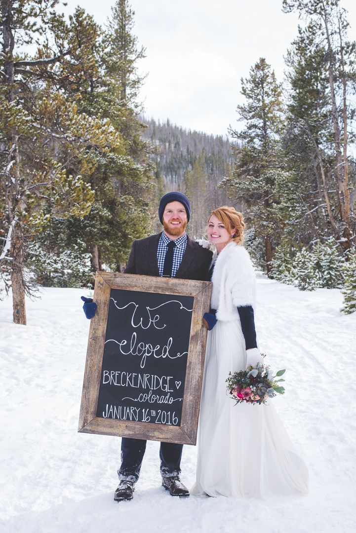 This stunning pair eloped in Breckenridge this winter, and created the cutest chalk board sign to celebrate!