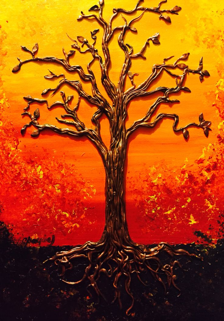 """""""The Last Tree""""  This original painting is made of Polymer Clay and Acrylics on Canvas (24 x 12 inch) with brilliant colours.  """"The Last Tree"""" remains strong despite the fire because of its roots.  I loved working on this piece. I can only see strength and passion on it.   Thank you for your interest!   Luna Del Sur"""