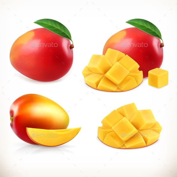 Mango by Allevinatis Mango. Whole And Pieces. Sweet Fruit. 3d Vector Icons Set. Realistic Illustration  This archive contains editable .eps vector form