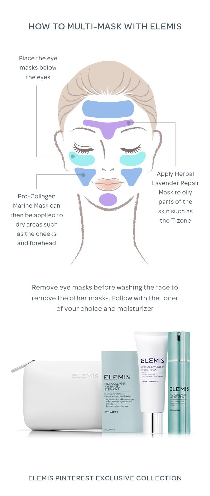 Multi-Masking Skincare Tutorial with ELEMIS. To multi-mask, place the eye masks below the eyes before applying HERBAL LAVENDER REPAIR MASK  to oily parts of the skin such as the T-zone. PRO-COLLAGEN MARINE MASK  can then be applied to dry areas such as the cheeks and forehead. Your skin will be beautifully soft, smooth and toned.