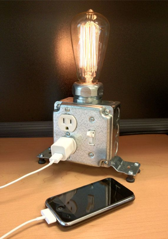 Table or Desk lamp by MartyBelkDesigns on Etsy... It would be cool to actually use an electrical socket with a USB port... They have those - right?