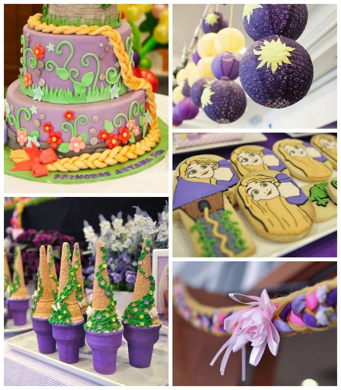 Rapunzel + Tangled themed birthday party with So Many Cute Ideas via Kara's Party Ideas | KarasPartyIdeas.com Full of decorating tips, cake,...