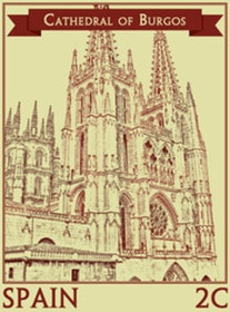 Gothic cathedrals are always impressive, just like the Cathedral of Burgos, part of the Spanish Cathedrals collection in www.stampfrenzy.com.