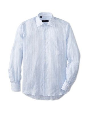 65% OFF Kenneth Gordon Men's Striped Spread Collar Sportshirt (Blue)