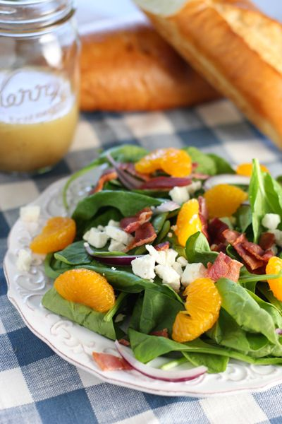 Spinach, Bacon, Feta and Mandarin Orange Salad!   A tried and true salad with a sweet and tangy dressing.
