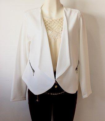 #Blazer blanco, Luce #Fresca y #Romantica. Talla XG