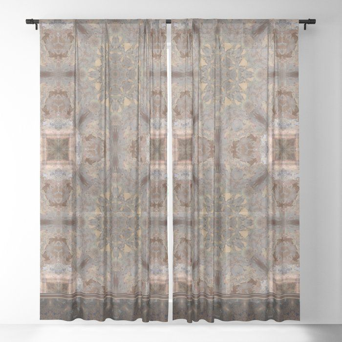 Copper Brown Terracotta Mandala And Tile Sheer Curtain By Natural