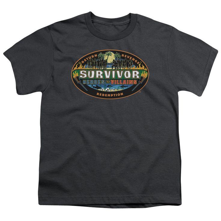 Survivor/Heroes Vs Villains Short Sleeve Youth 18/1 Charcoal