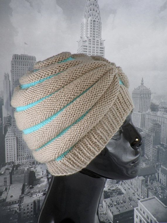 Knitting Pattern digital pdf download - Stripe Beehive Turban hat knitting pattern by madmonkeyknits