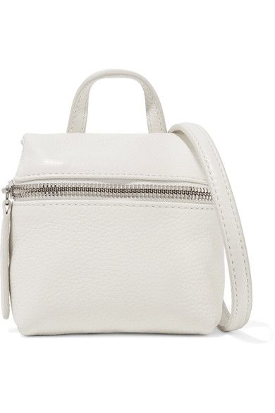 KARA - Micro Textured-leather Shoulder Bag - White - one size