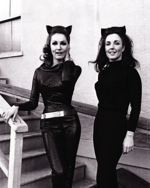 Both women portrayed Catwoman, Lee Meriwether in the film, and Julie Newmar in the television show.  c.1966