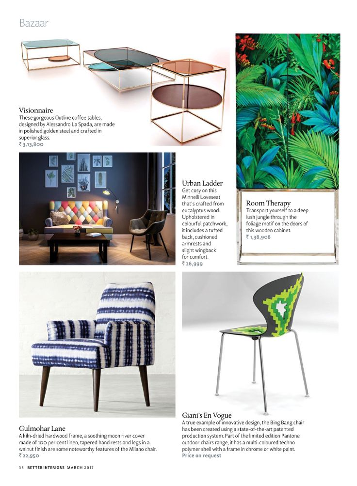 There's no better way to give your home an instant facelift than by adding some cheer with pops of colour. So put some zing back into your decor with vibrant furniture, furnishings and accessories.  Thank you Better Interiors for featuring our Milan Armchair in your March Edition.  Product Link: http://www.gulmoharlane.com/products/milan-armchair-collection-3