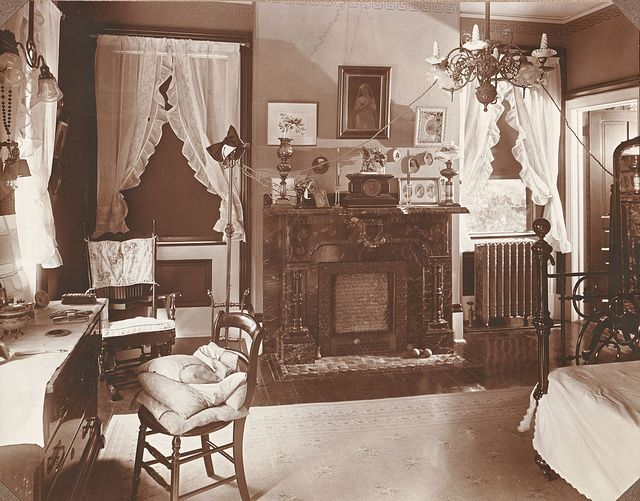 "Photo of the bedroom of Ella Jean ""Jennie"" (Wilson) (Lindsey) Downey at ""Ivyhurst."" Ivyhurst was the home of Robinson Franklin Downey (1849-1923) and his wife, Ella Jean ""Jennie"" (Wilson) (Lindsey) Downey (1860-1934)"