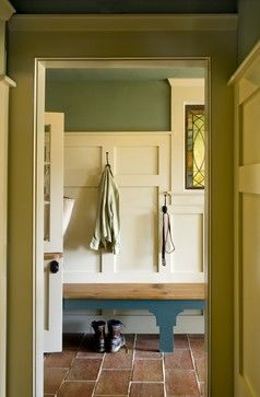 """Like the double panel look. The wainscoting is built up with a painted 1/2"""" MDF (medium density fiberboard) base and the stiles and rails (verticals and horizontals) are 5/8"""" painted poplar."""