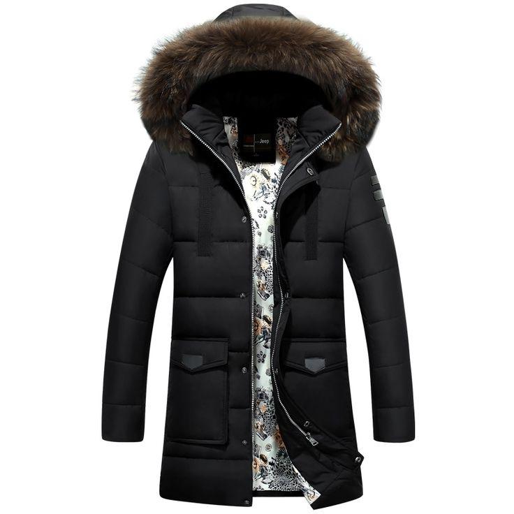 >> Click to Buy << New Trend Fur Hooded White Duck Down Jacket Men Parka Homme 2017 Fashion Black Thick Parka Men  Doudoune Homme fourrure Capuche #Affiliate