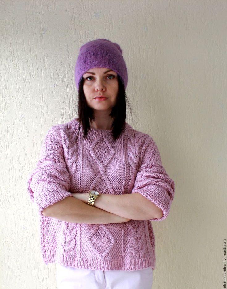 "Купить Свитер ""Pink"" - розовый, свитер косами, свитер, косы, кашемир, альпака, шёлк, кашемир"