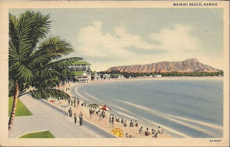 Vintage Hawaiian Postcard 1940 S Waikiki Beach Diamond Head Hawaii Linen Hawaii Waikiki