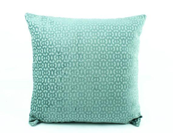 Teal Euro Sham 24x24 Pillow cover, Mint Green Pillow, Chenille 3D texture  pillow,