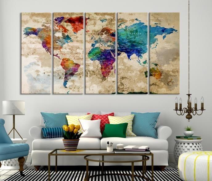 World Map Wall Art Canvas Print Large Wall Art Push Pin World Map Canvas Prints World Travel World Map Wall Art Map Canvas Art Large Canvas Wall Art