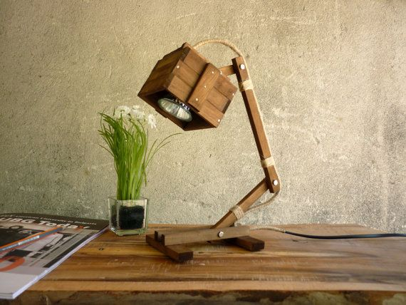 Kran I walnut - wooden desk table working lamp unique style MADE TO ORDER  Paladin  59