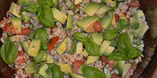Dejlig fyldig salat med perlebyg og cremet avocado. Den er særdeles velegnet til både kylling, oksekød og fisk.
