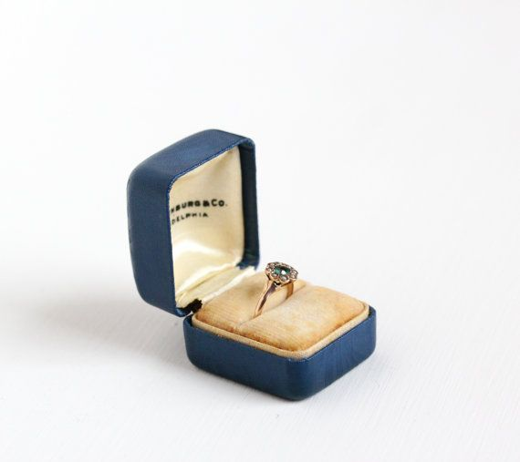 Beautiful and elegant blue ring proposal / storage box. The exterior of the presentation box  sc 1 st  Pinterest & 299 best Maejean Vintage Accessories images on Pinterest | Vintage ... Aboutintivar.Com