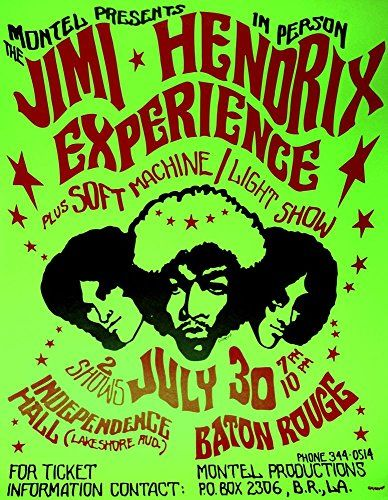 """The Jimi Hendrix Experience - Independence Hall, Baton Rouge."" Fantastic A4 Glossy Art Art Print Taken from A Vintage Concert Poster by Design Artist http://www.amazon.co.uk/dp/B0155VD0MS/ref=cm_sw_r_pi_dp_u-o8vb0M8CM4G"