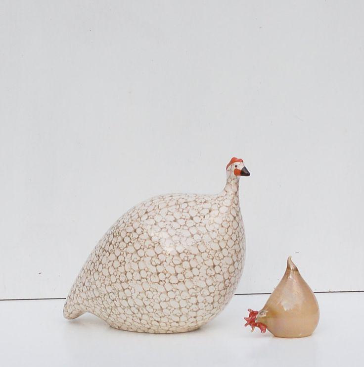 Vintage Ceramic Hen Chicken La Pintade Ceramic Hand-Made Guinea Hen Fowl Bird France Heidi Caillard #caillard #hen #chicken #guinea