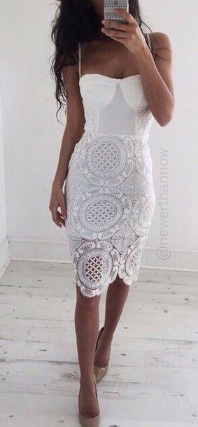 dress lace white dress bodycon bustier dress white crochet dress  lace dress