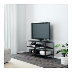 IKEA - VITTSJÖ, TV unit, white/glass, , Tempered glass and metal are durable materials that provide an open, airy feel.2 open compartments for a DVD-player, etc.Self-adhesive cable clips keep your cords in place and out of sight.Adjustable feet for stability on uneven floors.