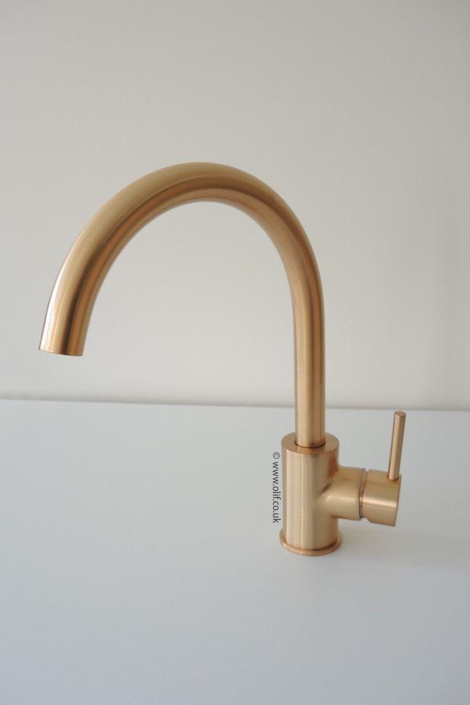 Brushed Bronze Contemporary Kitchen Mixer Tap, UK | Olif Cascata