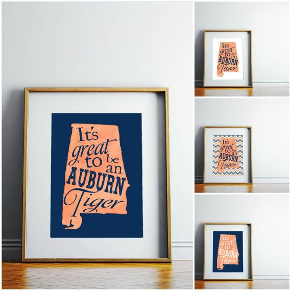 INSTANT DOWNLOAD It's Great To Be An Auburn Tiger typographic print. Auburn University school spirit art print wall decor. Great gift idea!