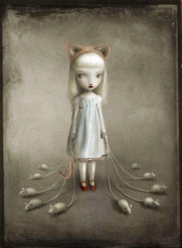nicoletta ceccoli - katherine - kawaii - cat - mouse - gatto - topo - fairytale - fiaba - cute - white - bianco