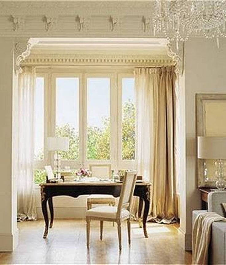 Home Design and Decor , Interior Bay Window Design Ideas : Bay Window Design With Long Curtains