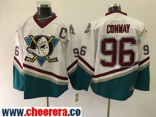 Men's Mighty Ducks Of Anaheim #96 Charlie Conway 1995-96 White CCM Throwback Stitched Vintage Hockey Jersey